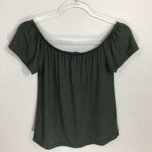 Primark Off Shoulder Green Top XS